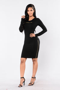 Zip It Dress - Black Angle 1