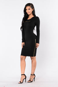 Zip It Dress - Black Angle 3