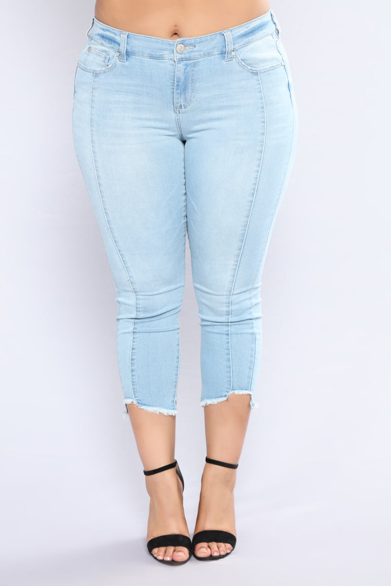 Crazy Beautiful Life Ankle Jeans - Light Blue Wash