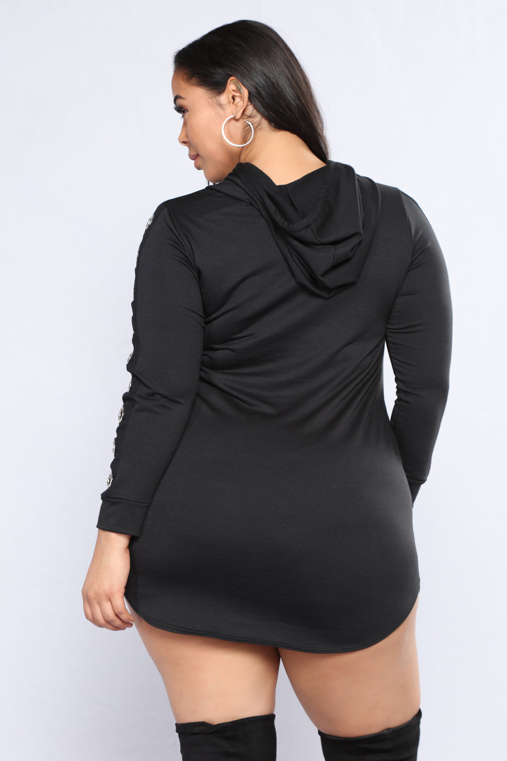 Gather Round Grommet Dress - Black