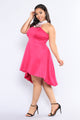 Outshine The Rest Rhinestone Dress - Fuchsia