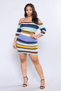 Hold Him Tight Striped Dress - Blue Multi Angle 6