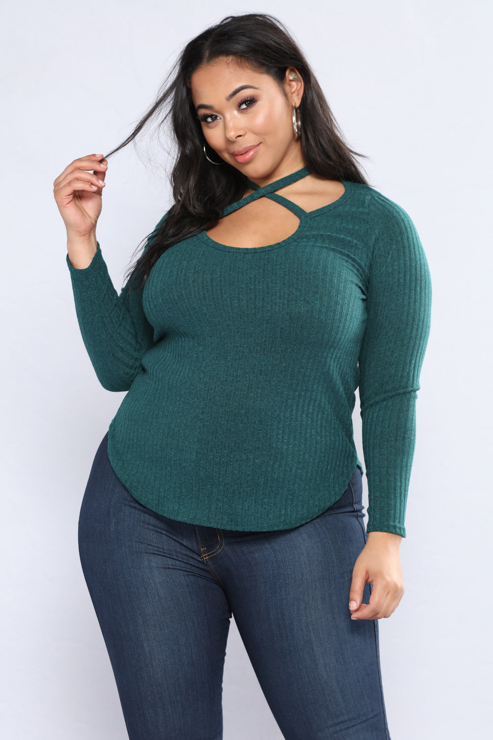 I Hold The Key Long Sleeve Top - Hunter Green