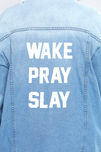 That's The Motto Jacket - Light Blue Angle 11