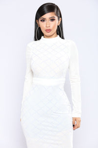 Written In The Stars Velvet Dress - Ivory