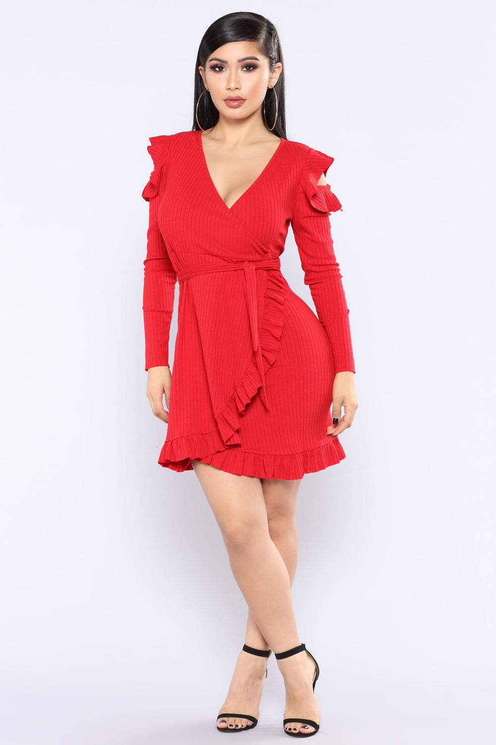 Annabeth Ruffle Dress - Red