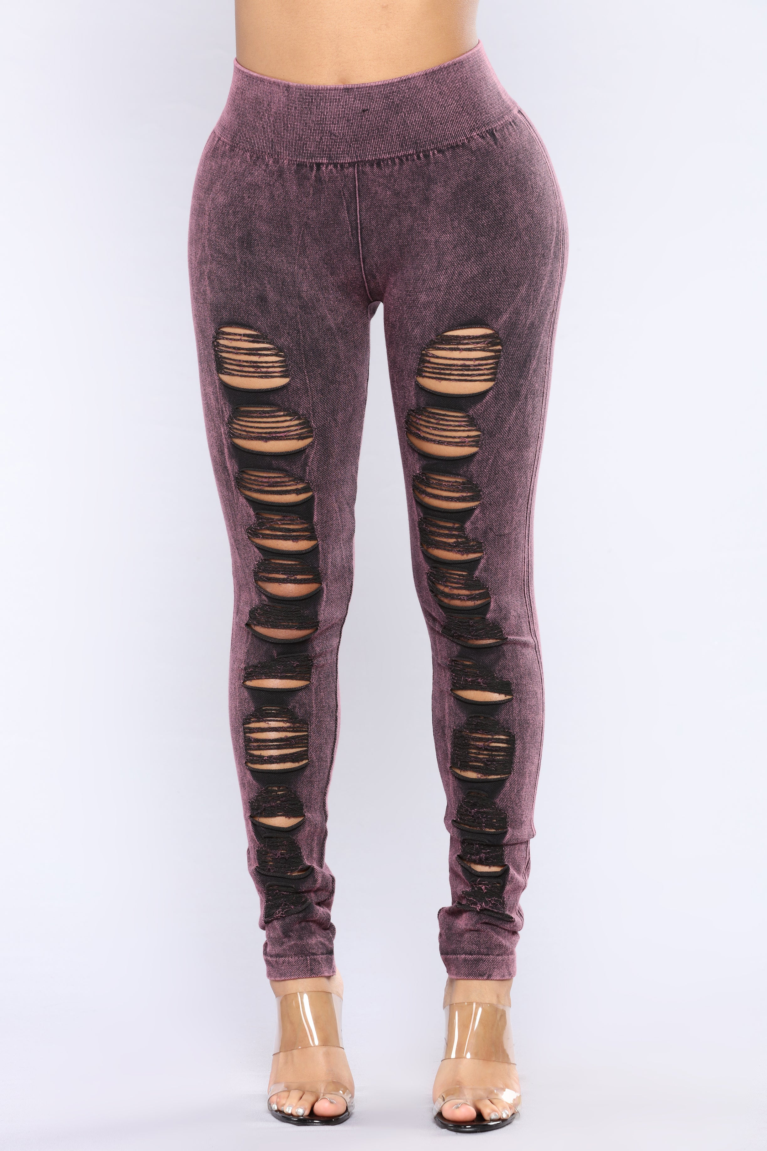 Iu0026#39;m Lost Distressed Seamless Leggings - Wine
