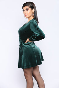 Maxime Velvet Dress - Hunter Green