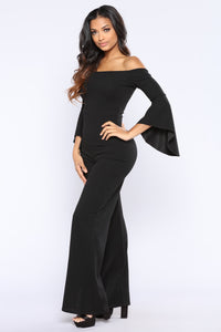 Record Machine Off Shoulder Jumpsuit - Black