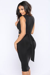 Around Town Tie Dress - Black