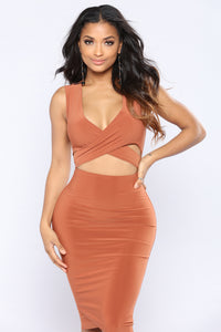 Around Town Tie Dress - Rust