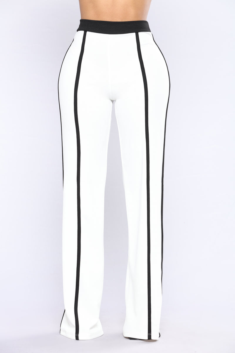 Young Diva High Rise Dressy Pants - White/Black