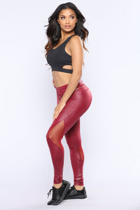 Don't Faux With Me Active Leggings - Burgundy