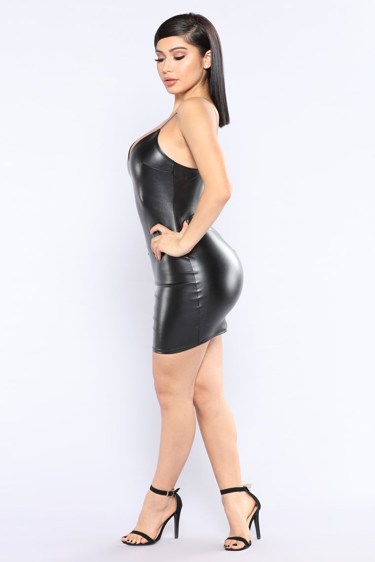 No Reservations Leather Dress - Black