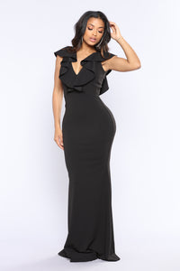 Nobility Ruffle Dress - Black