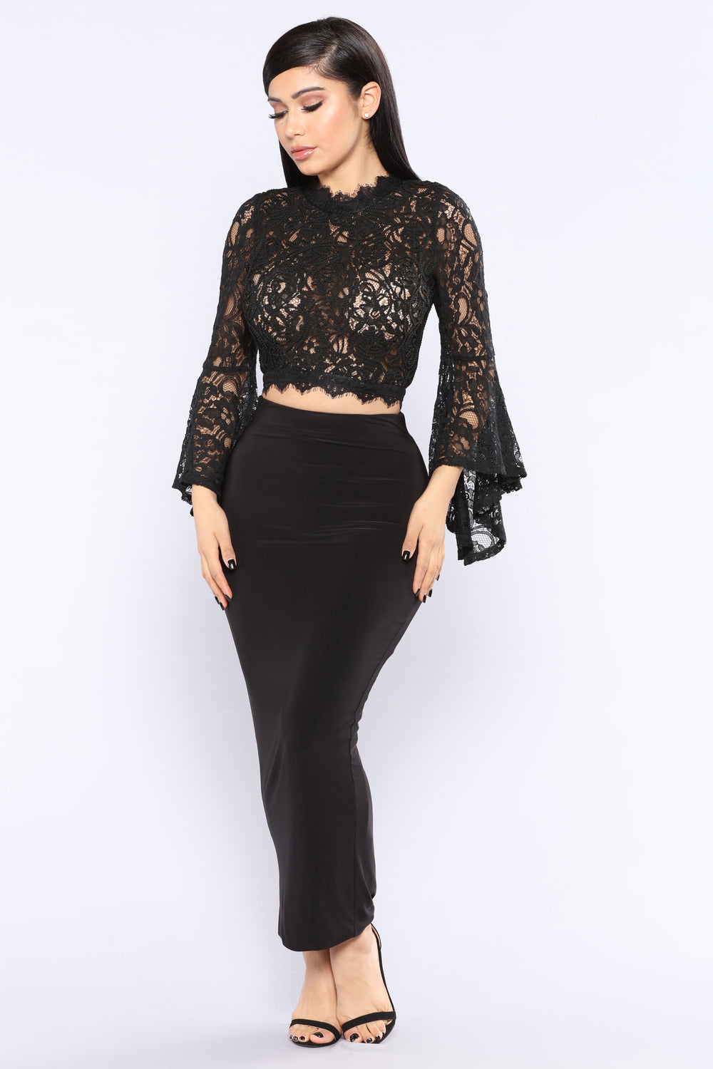 Sheer Romance Lace Top - Black