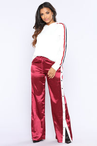 Gina Snap Satin Pants - Burgundy Angle 3
