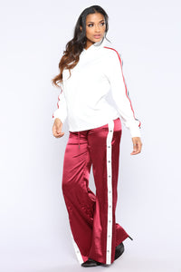 Gina Snap Satin Pants - Burgundy Angle 1