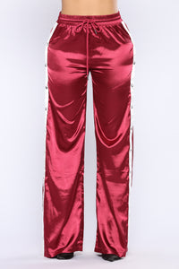 Gina Snap Satin Pants - Burgundy Angle 4