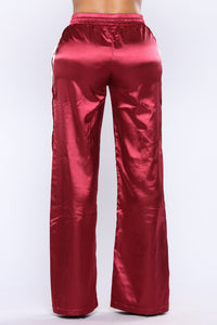 Gina Snap Satin Pants - Burgundy Angle 5