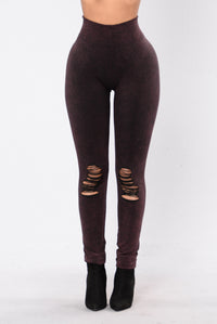 Take Your Mind Off Leggings - Wine Angle 2