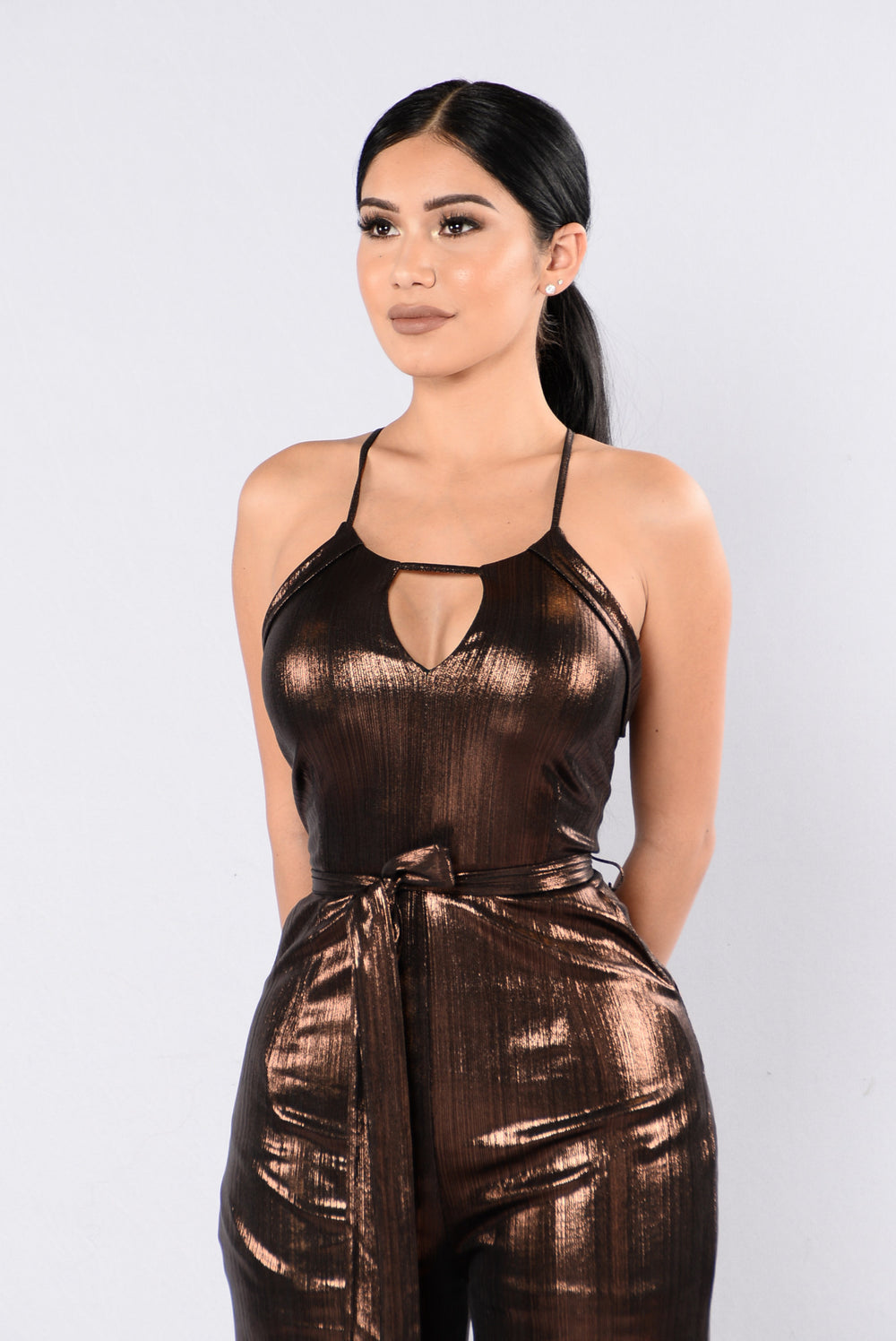 Let's Go Back In Time Jumpsuit - Bronze