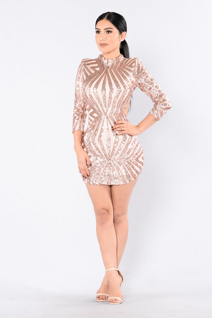 Shine Bright Dress - Rose Gold