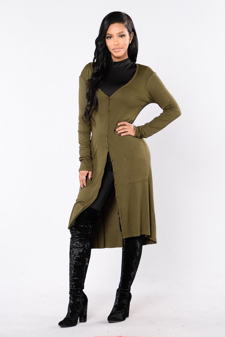 Still Into You Cardigan - Olive