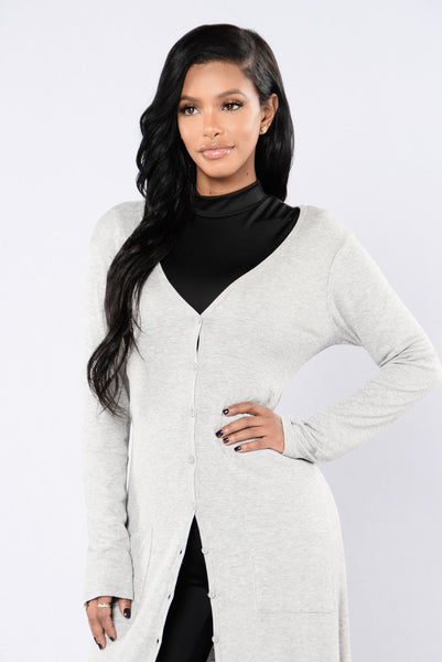Still Into You Cardigan - Heather Grey