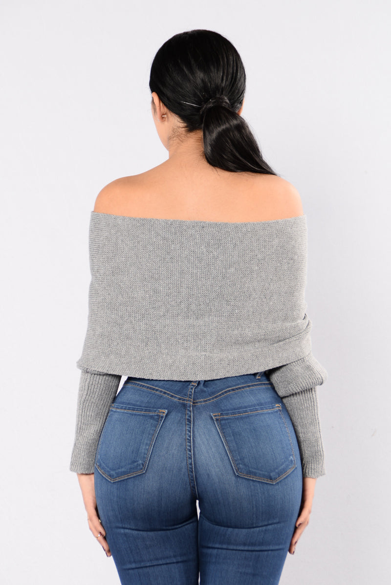 Cross Up Sweater - Grey