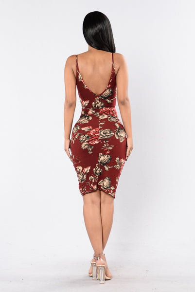 Make You A Believer Dress - Burgundy