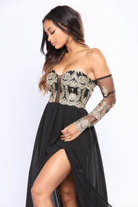 Sovereign Embroidered Dress - Black/Gold
