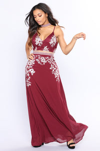 Princess Diaries Embroidered Dress - Burgundy