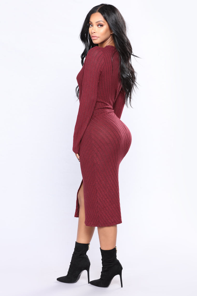 Sofie Sweater Dress - Wine