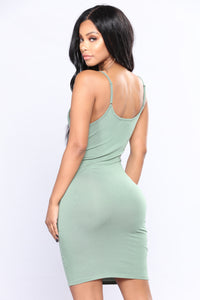 Jane Mini Dress- Sage