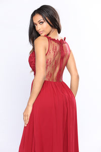 Lace Like Me Dress - Wine