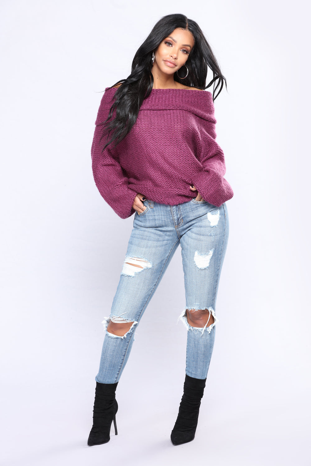 Weight Off Your Shoulders Sweater - Plum