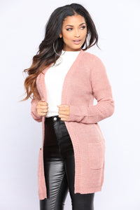 Laced Down Cardigan - Mauve