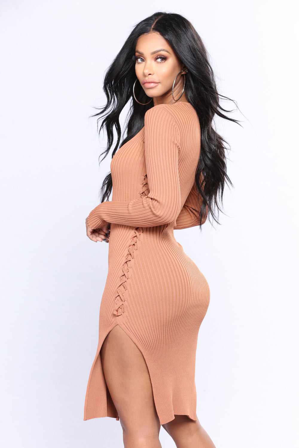 New Addy Lace Up Ribbed Dress - Amber