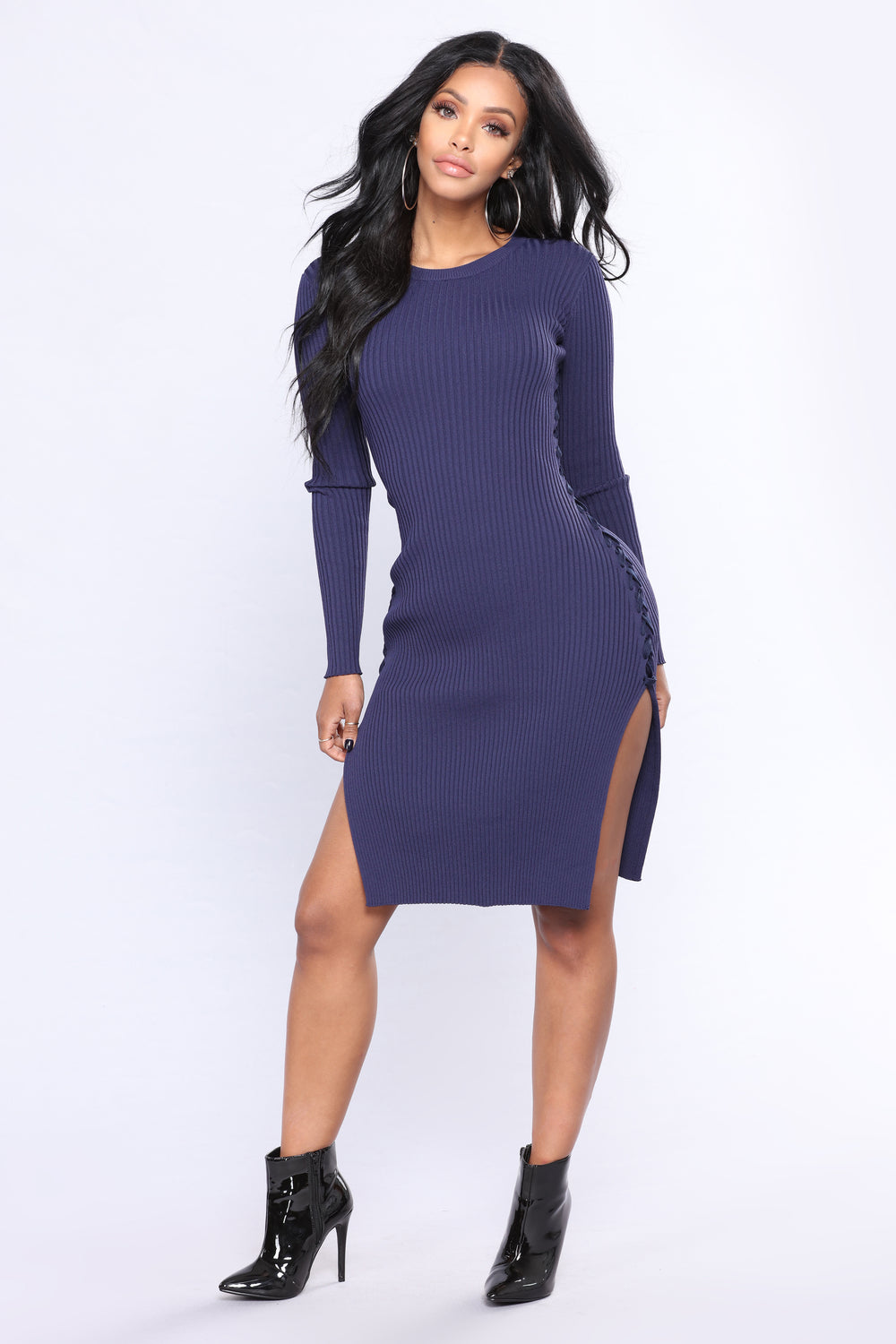 New Addy Lace Up Ribbed Dress - Blue