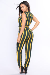 Making My Way Stripe Jumpsuit - Olive/Mustard