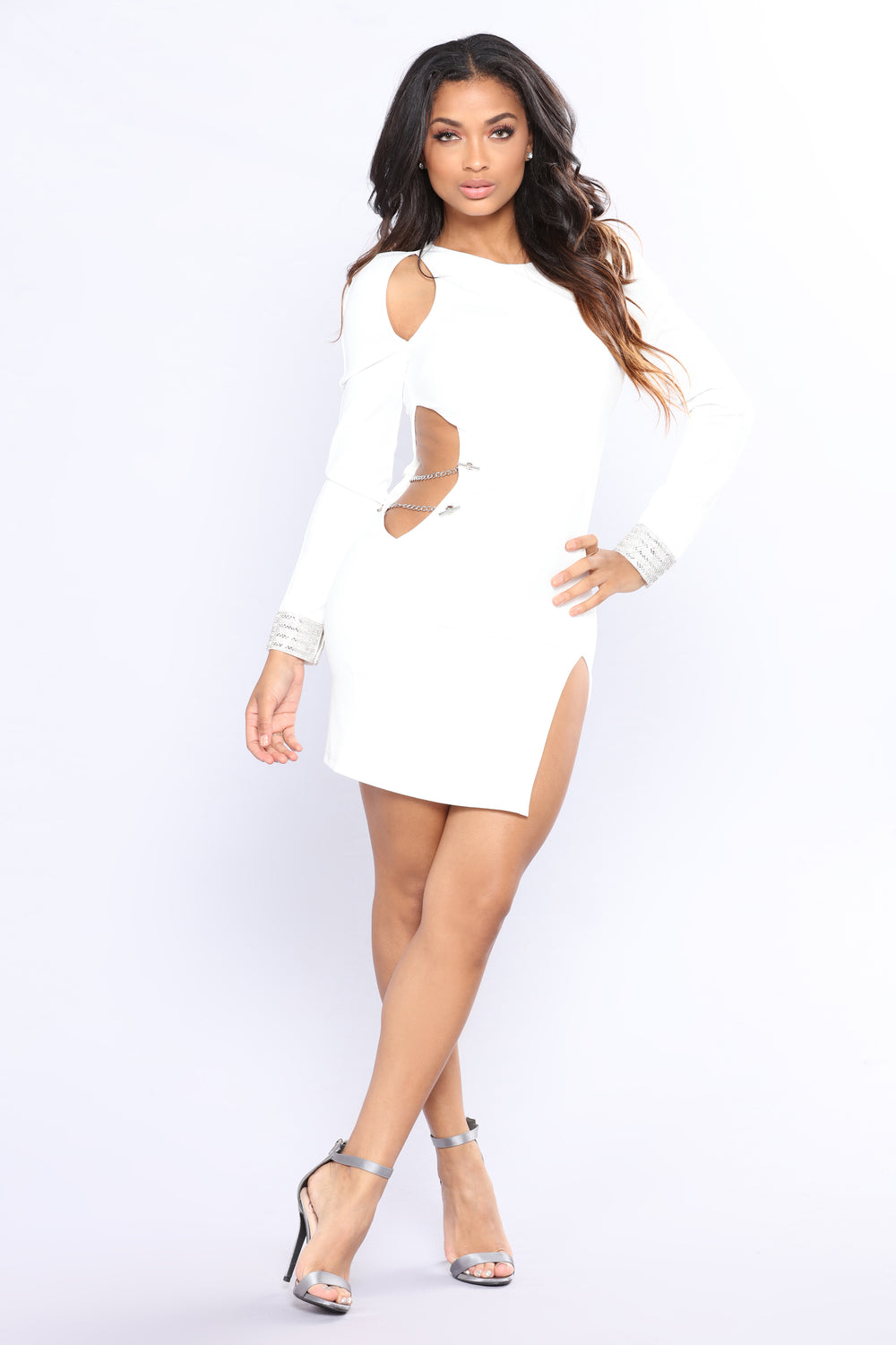 Ride The Vibrations Rhinestone Dress - White