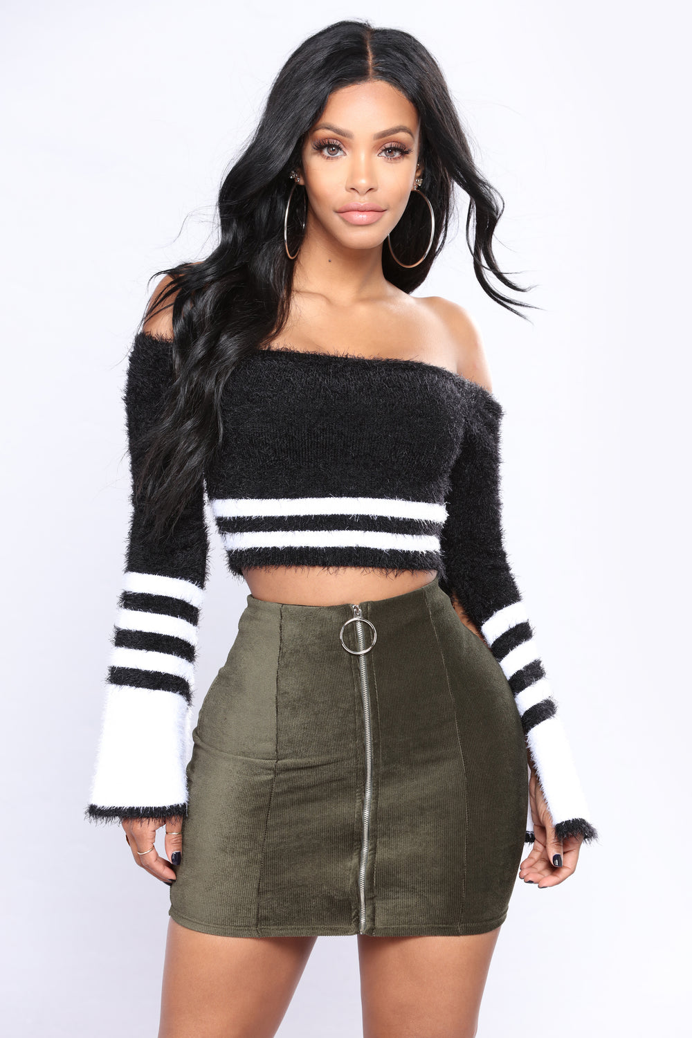 Pretty Fuzzy Off Shoulder Top - Black/White