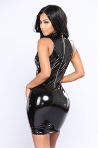 Cora Latex Dress - Black