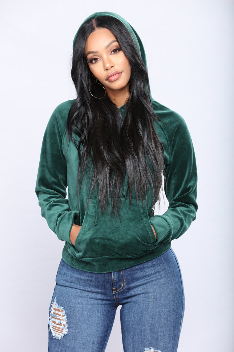 The Original Trendsetter Velour Pullover Hoodie - Hunter