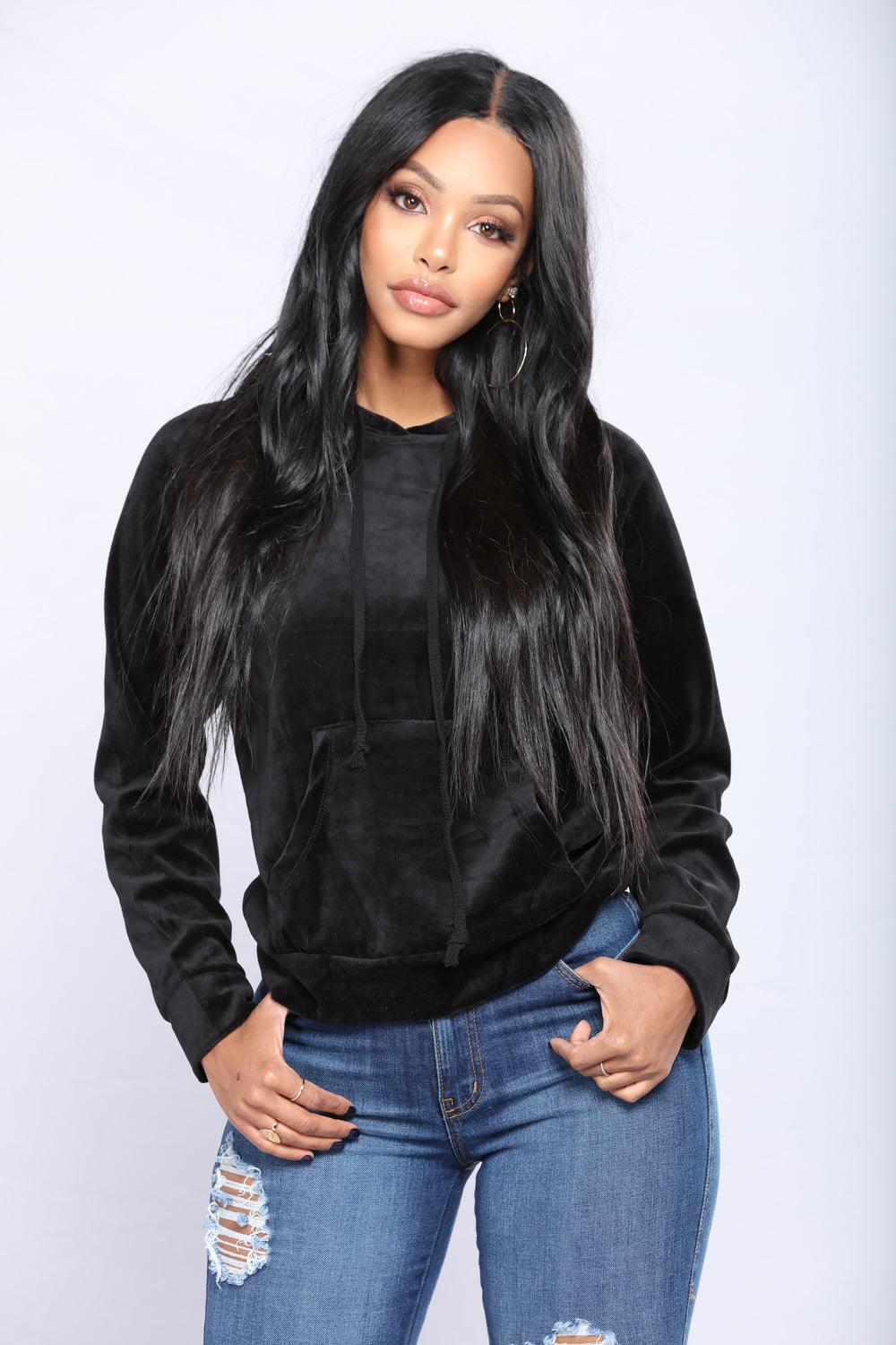The Original Trendsetter Velour Pullover Hoodie - Black