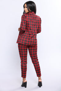 Freij Plaid Pant Set - Red/Black