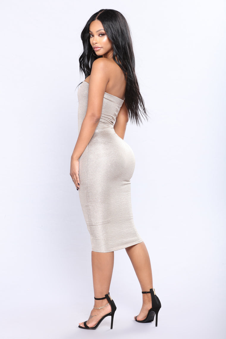 Foil Me Shine Dress - Gold
