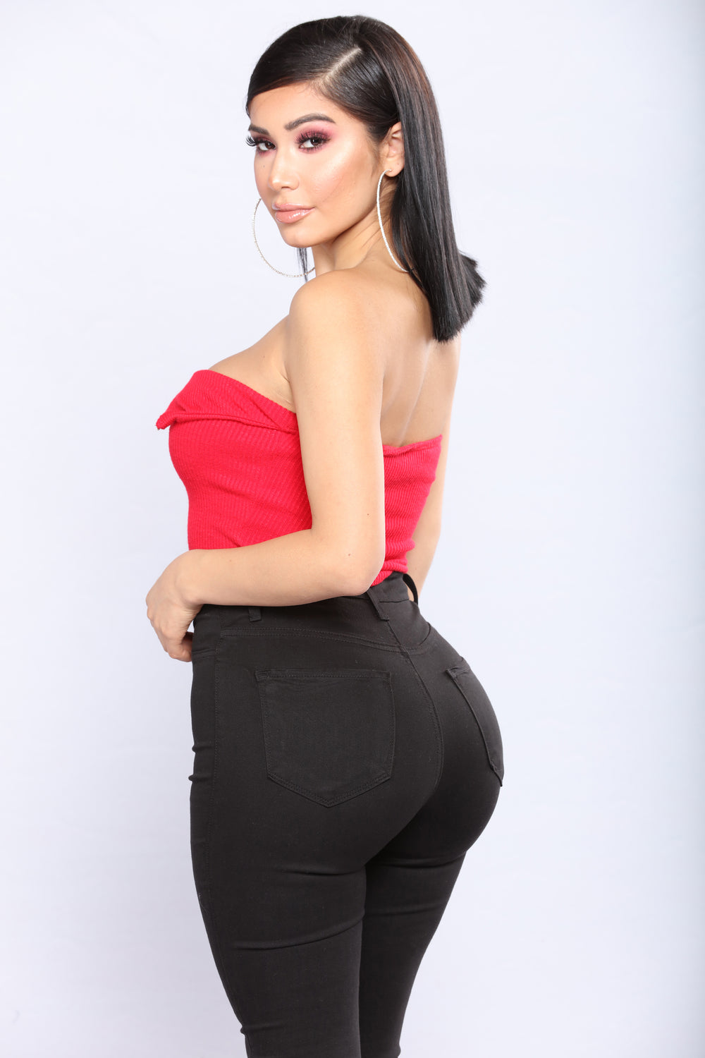 After The Party Zip Crop Top - Red