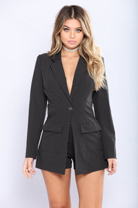 After Hours Pinstripe Romper - Black/White
